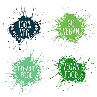 Rótulos de splatter de comida vegan vegetariano puro em cores verdes
