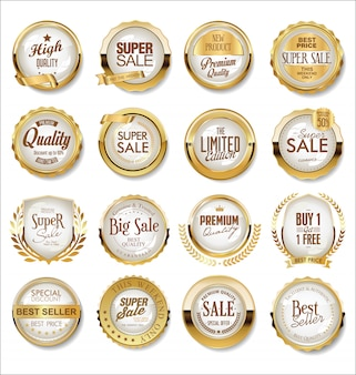 Rótulos de super venda dourada