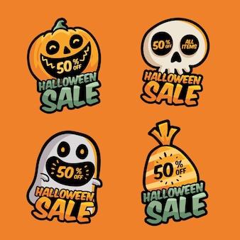 Rótulos de venda de halloween com desenho desenhado à mão