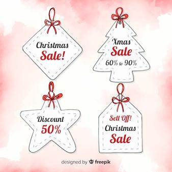 Rótulos de venda de natal em aquarela