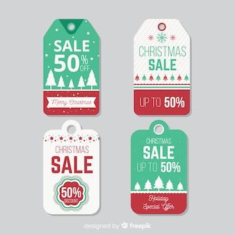 Rótulos de venda de natal plana