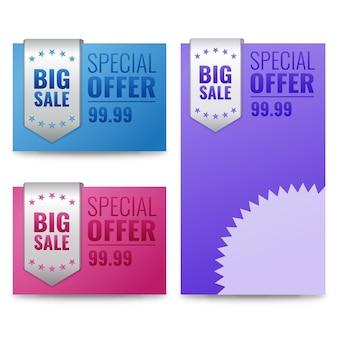 Rótulos de venda e banner com texto de oferta especial.