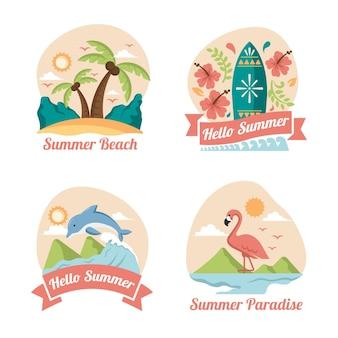 Rótulos de verão em design plano