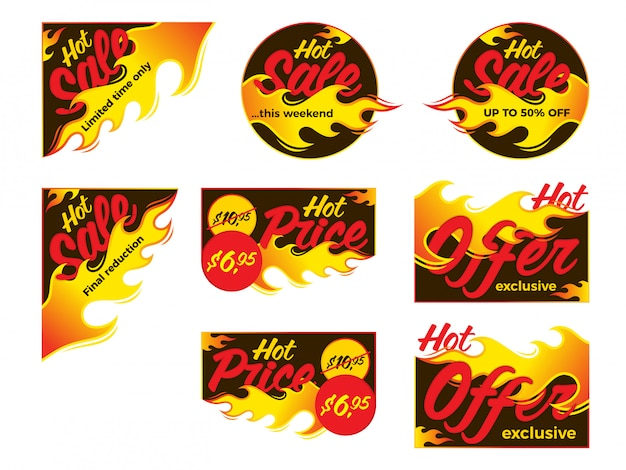 Rótulos de vetor de acordo de oferta de preço de venda quente.