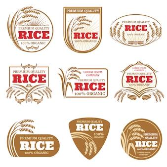 Rótulos de vetor de arroz em casca.
