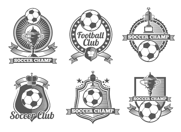 Rótulos de vetor vintage futebol ou futebol, logotipos, emblemas. esporte de futebol, rótulo de futebol, emblema de futebol, ilustração de emblema de futebol