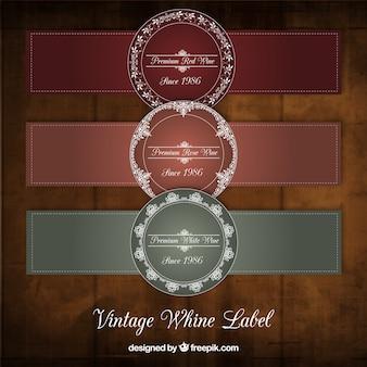 Rótulos de vinho do vintage com letras brancas