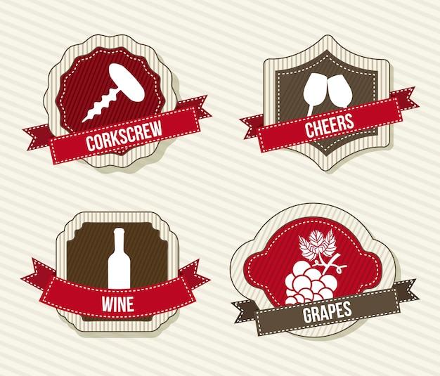 Rótulos de vinho sobre ilustração vetorial de fundo bege