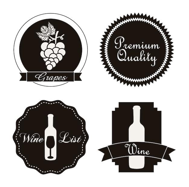Rótulos de vinho sobre ilustração vetorial de fundo branco