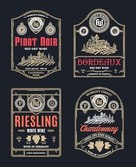 Rótulos de vinho tinto e branco vintage com linha fina