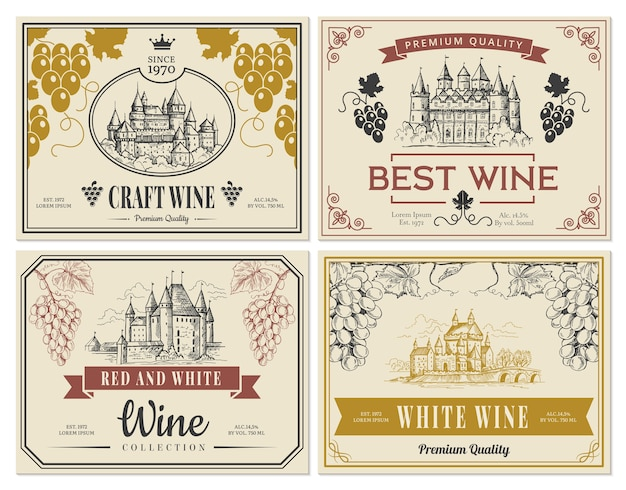 Rótulos de vinhos. imagens vintage para rótulos antigos castelos medievais e torres modelo de vetor de objetos arquitetônicos. adesivo de ilustração de vinho vintage tradicional