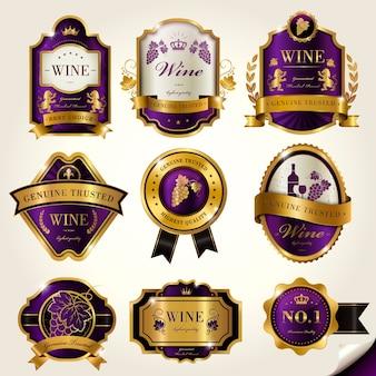 Rótulos de vinhos luxuosos com elementos roxos e dourados