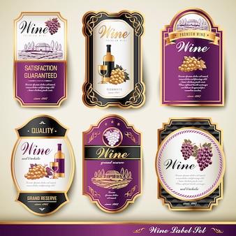 Rótulos de vinhos premium elegantes definem coleção com linha dourada