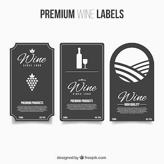 Rótulos de vinhos premium no estilo plano