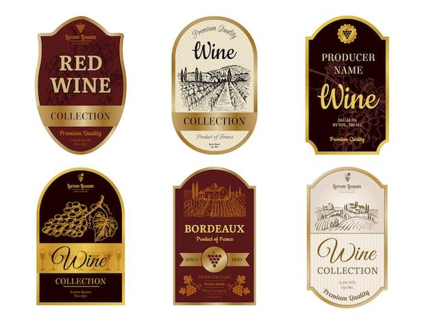 Rótulos de vinhos vintage. álcool vinho champanhe bebidas emblemas estilo de luxo com fotos de silhuetas de vinhedo e fotos de uvas