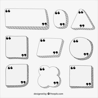 Rótulos desenhados à mão para citações