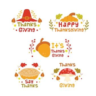Rótulos do dia de ação de graças