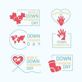 Rótulos dos dias da síndrome de down do mundo plano