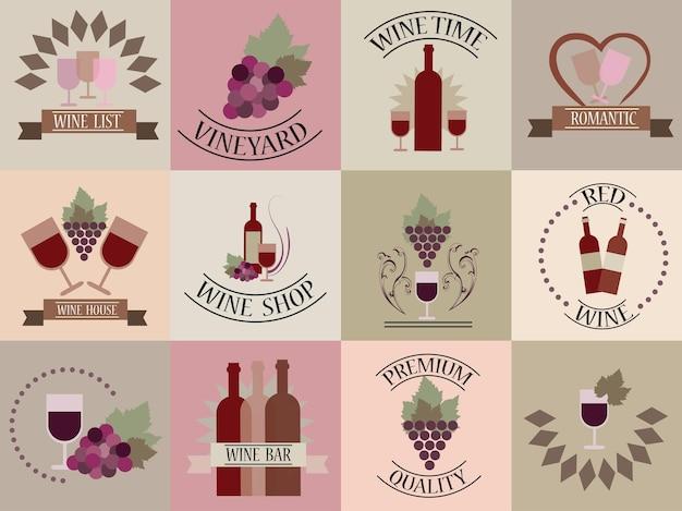 Rótulos e conceitos de vinhos vetoriais - conjunto de ícones