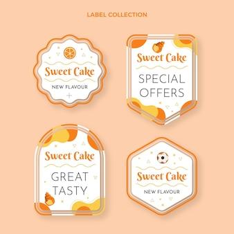 Rótulos e emblemas de alimentos com design plano