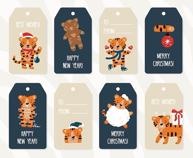 Rótulos e etiquetas de papel para presente de ano novo e natal e conjunto de etiquetas kraft com tigres engraçados no estilo desenho animado