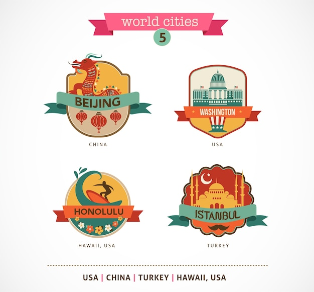 Rótulos e símbolos das cidades do mundo - pequim, istambul, honolulu, washington,