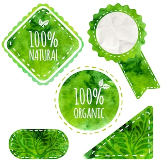 Rótulos ecológicos verdes com texto 100% natural e orgânico. emblemas de vetor com textura aquarela isolada no fundo branco. desenho artístico de produtos naturais (cosméticos, alimentos, artesanato).