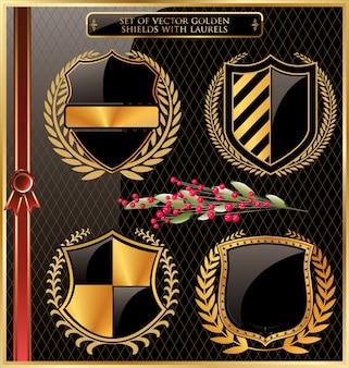 Rótulos emoldurados em ouro negro com grinaldas de louros