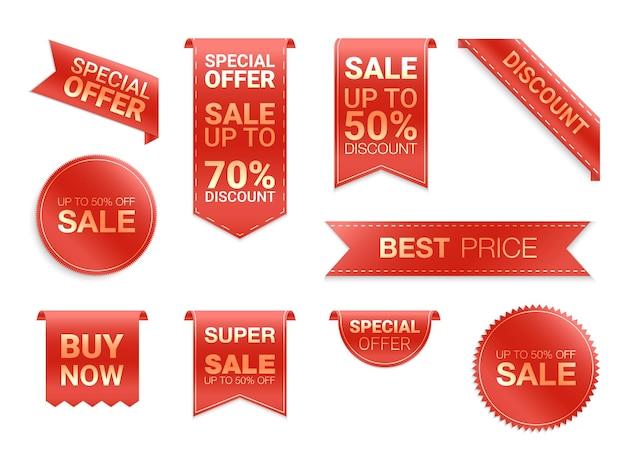 Rótulos isolados. promoção de venda, adesivos de site, nova coleção de emblemas de oferta.