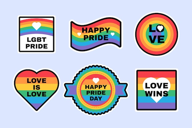 Rótulos lgbtq do orgulho definidos nas cores do arco-íris: bandeira, coração, amor, suporte, símbolos de tolerância para cartazes e design de decoração de banners. ilustração vetorial plana do mês do orgulho gay e lésbica