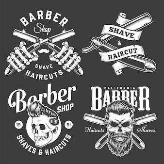 Rótulos monocromáticos de barbearia vintage