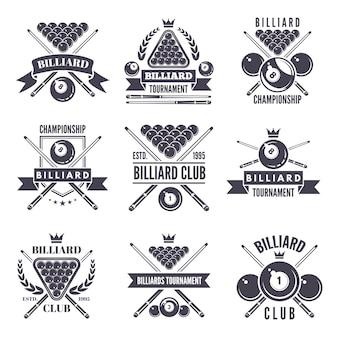 Rótulos monocromáticos ou logotipos para o clube de bilhar.