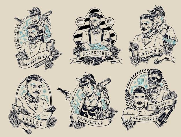 Rótulos monocromáticos vintage de barbearia com inscrições rosas estiloso masculino feminino e esqueleto barbeiros clientes navalha pente tesoura e secador