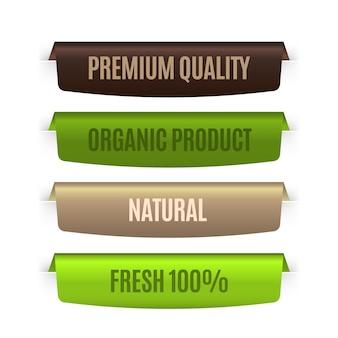 Rótulos naturais orgânicos em cores diferentes