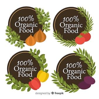 Rótulos orgânicos de alimentos planos