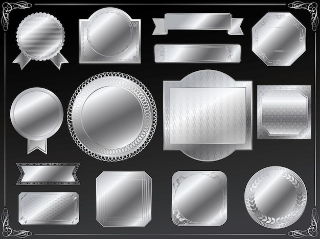 Rótulos prateados com espaço de texto definido isolado em um fundo preto