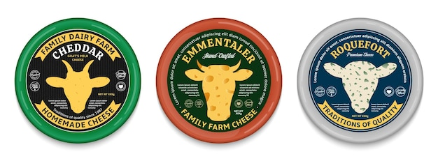 Rótulos redondos de estilo moderno de queijo de vetor