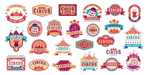 Rótulos retrô de circo. adesivos de evento de carnaval de vetor para convite, formas e elementos de moldura de show vintage