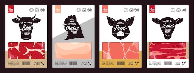 Rótulos vetoriais de açougue com rostos de animais de fazenda Vetor Premium