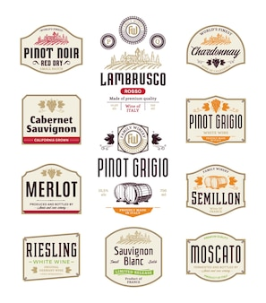 Rótulos vintage de vinho tinto e branco Vetor Premium