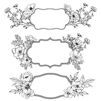 Rótulos vitorianos elegantes com decorações florais