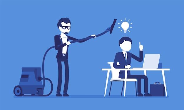 Roubar idéias de negócios. homem da máscara com aspirador varrendo com cérebros de tubo, pensamentos de trabalhador criativo, usando sem permissão ou direito legal. ilustração com personagens sem rosto