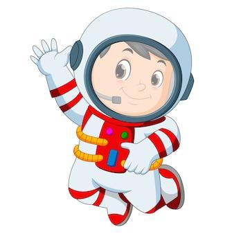 Roupa de astronauta acenando a mão