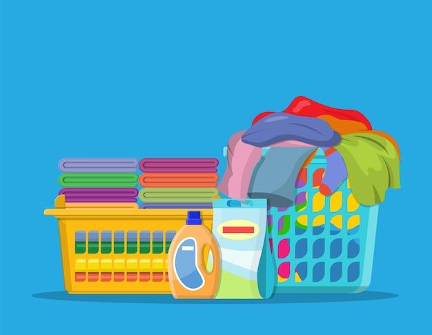 Roupa de cama ou roupas em cestos
