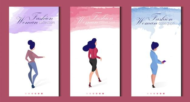 Roupa de coleção de mulher de moda conjunto de banner plana.