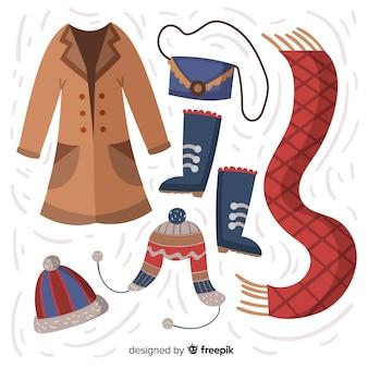 Roupa de inverno desenhada de mão