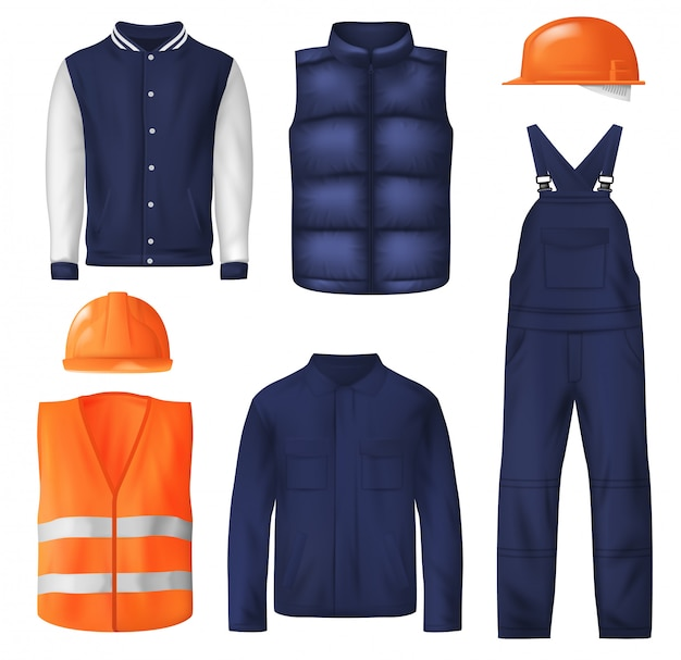 Roupa de trabalho e roupas esportivas para homens