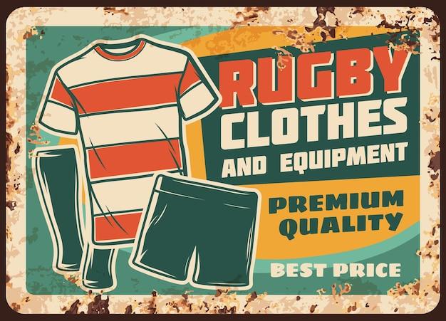 Roupa e equipamento de rugby placa de metal enferrujada Vetor Premium