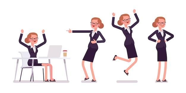 Roupa formal de jovem empresária expressando emoções positivas, poses diferentes