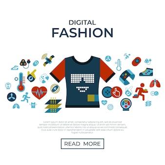 Roupa inteligente moda gadget tecnologia conjunto de ícones